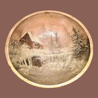 Large Wooden Dough Bowl With Hand Painted Scene
