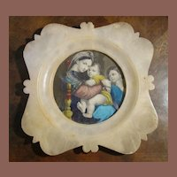 Antique Religious Italian Portrait Of Mary And Baby Jesus Dated 1899