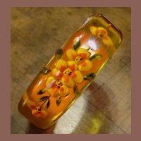Vintage Reverse Carved Apple Juice Bakelite Bracelet