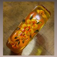 Vintage Reverse Carved Apple Juice Bakelite Bracelet