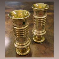 Pair Of Antique Victorian Gold Mercury Glass Vases