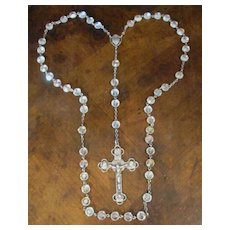 Vintage Sterling Silver And Crystal Beaded Rosary