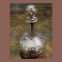 Art Nouveau Sterling Silver Overlay Perfume Bottle Dated 1896