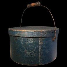 19th Century Fabulous BLUE Bail Handle Pantry