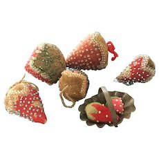 19th Century LARGE, Beaded Strawberry Emeries