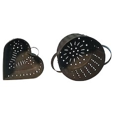 Pair 19th Century Cheese Strainers - Heart and Round - Fantastic