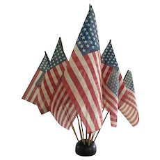 19th Century Wooden Flag Holder /WWII Large Gauze Flags
