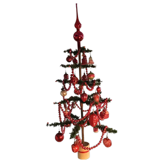 19th Century German Feather Tree - Fully Decorated