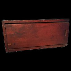 19th Century Candle Box - Original Red, Oxidized Paint