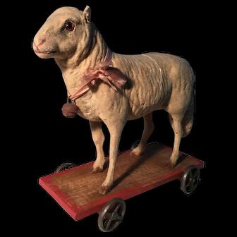 19th Century Sheep on Wheels Flocked