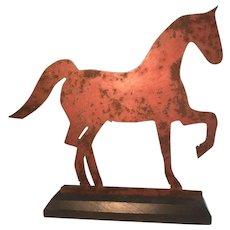 19th Century Sheet Metal Horse Weathervane - Original Red Paint
