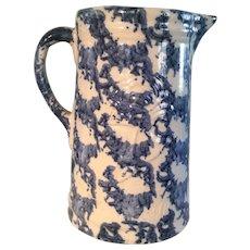 19th Century Blue Spongeware Pitcher - Embossed w/Flower