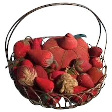 19th Century Wire Basket of Strawberry Emeries 29 total