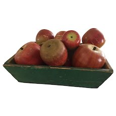 19th Century Green Tote/Filled With Early Wooden Apples