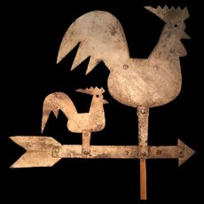 19th Century Double Rooster Vane - Fabulous Oyster White Paint - GREAT