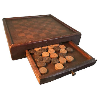 19th Century Checker Board/Drawer and Original Checkers