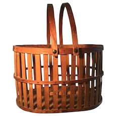 19th Century Wonderful Wooden Slat Basket