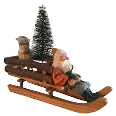 19th Century German Santa in Sled with Tree and Sheep
