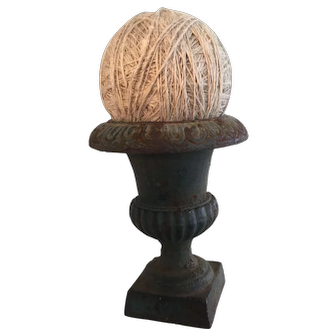 Antique Miniature Urn in Old Dry Paint w/ Early Ball of String
