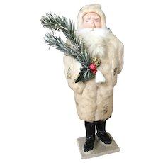 19th Century Santa Candy Container White Spun Coat!