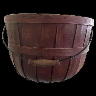 19th Century Half  Bushel Basket - Red - Great Condition