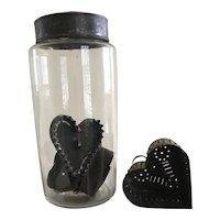 19th Century Blown Glass Jar/ Heart Cheese Strainer/Heart Cutters!