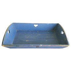 19th Century Blue Apple Tray - 4 Heart Cutout Handles