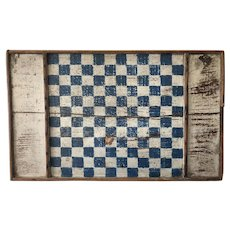 Early 19th Century Blue White Game Board - Double Sided