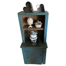 Mid 19th Century Blue Child's Stepback Cupboard