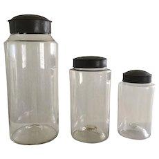 Collection 19th Century Blown Glass Jars - High Pontil, Tin Lids