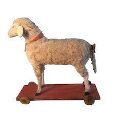 19th Century Wonderful Sheep on Wheels - One of my BEST