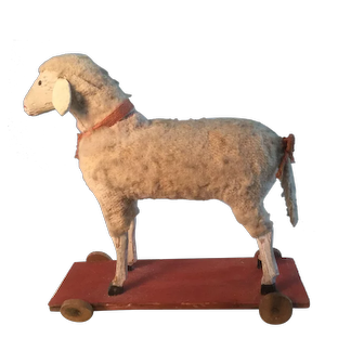 19th Century Wonderful Sheep on Wheels - One of my BEST