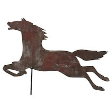 19th Century Sheet Metal Horse Weathervane/Red Paint