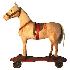 19th Century Fabric Covered Horse on Wheels - GREAT