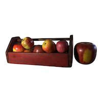 Early Red Tote/Collection of 16 Wooden Apples