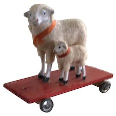 Rare Mama Sheep and Baby on Wheels - Germany