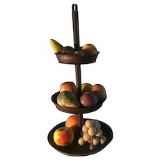 19th Century Tiered Tin Compote/19th Century Stone Fruit