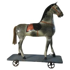 Mid to late 19th Century HUGE and Beautiful Horse on Wheels