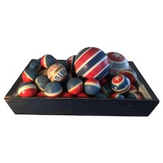 Fabulous Blue Apple Tray w/Great Collection of 1940 Patriotic Balls