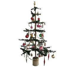 Pre-Holiday Sale - Great, Early Feather Tree/Fully Decorated  35 in