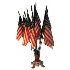 19th Century Flag Holder (General Store) and Dozen Early Flags