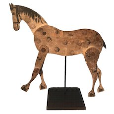 19th Century Folk Art Articulated Polka Dot Horse