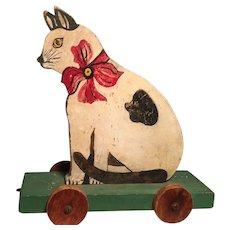 Antique Folk Art Cat on Wheels - Great!