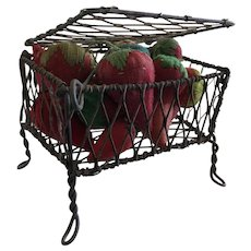 19th Century Wire Box, Footed Full of GREAT Strawberry Emeries