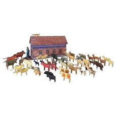 19th Century German Flat Bottom Noah's Ark and all Animals
