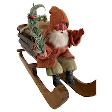 Antique German Santa in Sleigh with Trees and Sheep