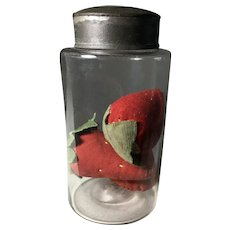 Great 19th Century Blown Glass Jar/Huge Strawberries