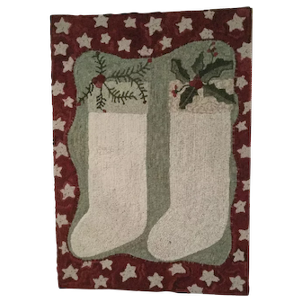 Holiday Stocking Hooked Rug - Designed & Hooked by Polly Minick