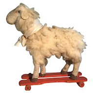 19th Century LARGE Sheep on Wheels - Totally Original