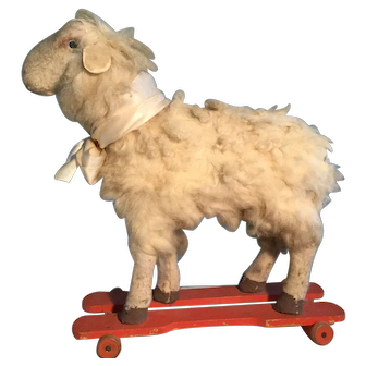 19th Century LARGE Sheep on Wheels - Totally Original